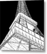Eiffel Up Inverted Metal Print