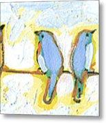 Eight Little Bluebirds Metal Print