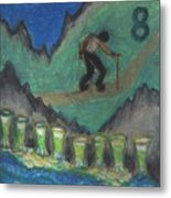 Eight Of Cups Illustrated Metal Print