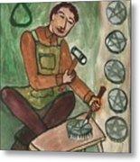Eight Of Pentacles Illustrated Metal Print