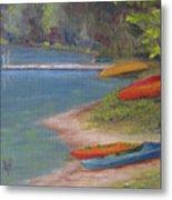 Eighth Lake Canoes Metal Print