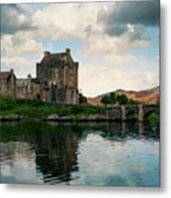 Eilean Donan Castle On A Cloudy Day Metal Print