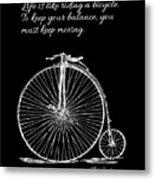 Einstein's Bicycle Quote - White Metal Print