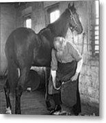 Elderly Blacksmith Shoeing Horse Metal Print