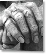 Elderly Hands Metal Print