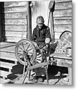 Elderly Woman Spinning Wool, C.1920s Metal Print