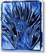 Electric Blues Peacock Metal Print