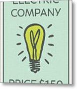 Electric Company Vintage Monopoly Board Game Theme Card Metal Print