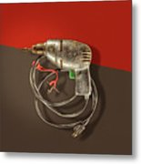 Electric Drill Motor, Green Trigger On Colored Paper Metal Print