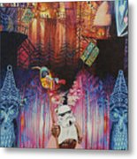 Electric Forest-people Building Houses In The Trees Metal Print