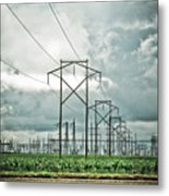 Electric Lines And Weather Metal Print
