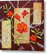 Electric Red Poppies Metal Print