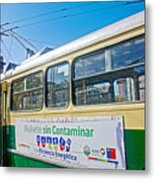 Electric Trolley Took Us To The Port In Valparaiso-chile  Metal Print