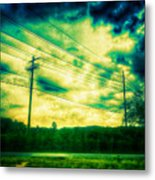 Electric Wires Across The Land Metal Print
