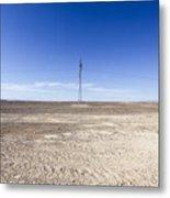 Electricity Pylon In Desert Metal Print