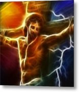 Electrifying Jesus Crucifixion Metal Print