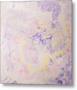 Elegant Hand Made Ink Design In Purple And Yellow Metal Print