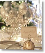 Elegant Holiday Dinner Table With Focus On Place Card Metal Print