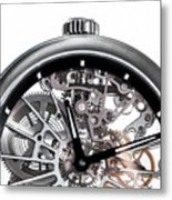 Elegant Watch With Visible Mechanism, Clockwork Close-up. Metal Print
