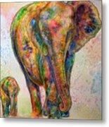 Elephant And Calf Metal Print