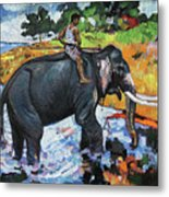 Elephant And Man Metal Print