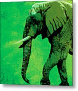 Elephant Animal Decorative Green Wall Poster 4 Metal Print