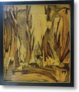 Elephant Artwork With Wooden Waste Metal Print
