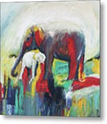 Elephant Baby And Mother Metal Print