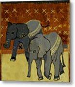 Elephant Calves Metal Print