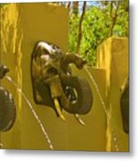 Elephant Fountain One Metal Print