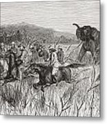 Elephant Hunters In The 19th Century Metal Print