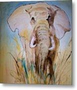 Elephant In The Field Metal Print