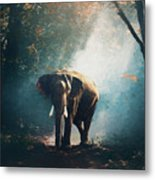 Elephant In The Mist - Painting Metal Print