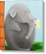 Elephant In The Shade Metal Print