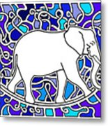 Elephant Rocker Blue Magoo Metal Print