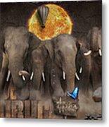 Elephant Run Metal Print
