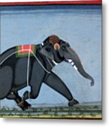 Elephant & Trainer, C1750 Metal Print