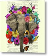 Elephant With Colorful Flowers Illustration Metal Print