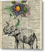 Elephant With Flowers Metal Print