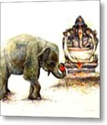Elephant With Ganesha Metal Print
