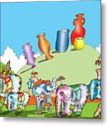 Elephants And Urns On A Hill Metal Print