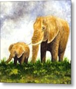 Elephants - Mother And Baby Metal Print