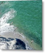 Eleven Brown Pelicans Metal Print