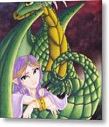 Elf Girl And Dragon Metal Print
