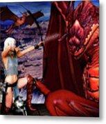 Elf Vs Dragon Metal Print