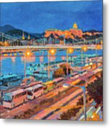 Elisabeth Bridge With Lights Metal Print