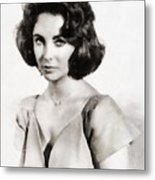 Elizabeth Taylor, Vintage Hollywood Legend By John Springfield Metal Print