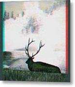 Elk - Use Red-cyan 3d Glasses Metal Print