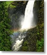 Elk Creek Falls Rainbow Metal Print