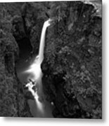 Elk Falls In The Canyon Black And White Metal Print
